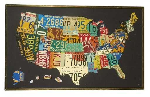 Us Map Made Out Of License Plates.License Plate Collage U S A Map In Frame