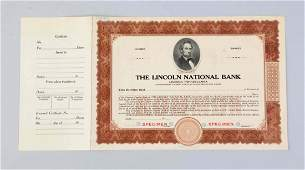 The Lincoln National Bank Certificate