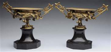 Pair of French Bronze  Marble Garnitures