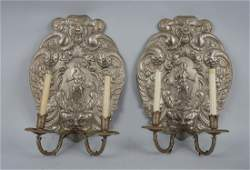 Pair of Silver Plated Ornate Sconces.