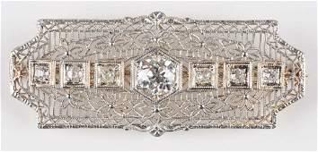 Early Diamond Filigree Bar Pin.