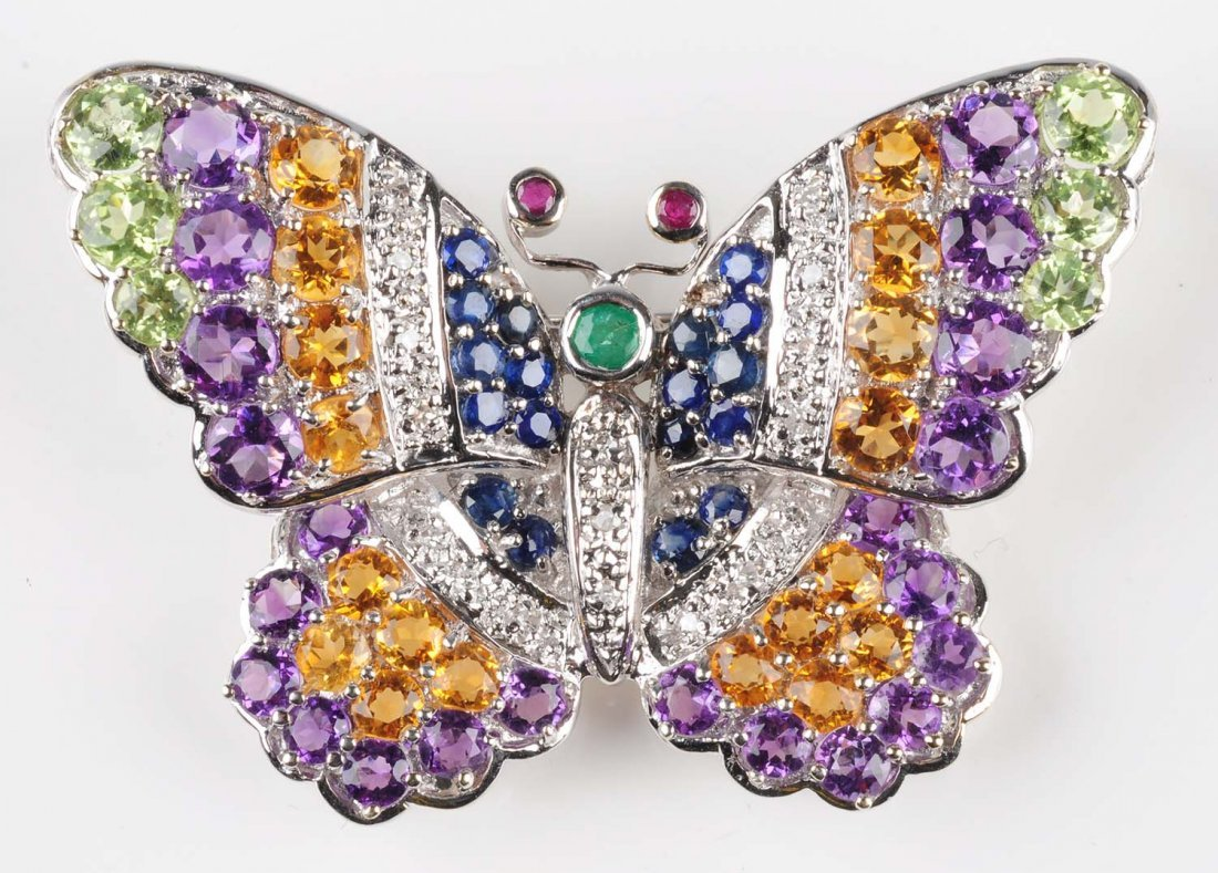 Multi-Gem Butterfly Brooch.