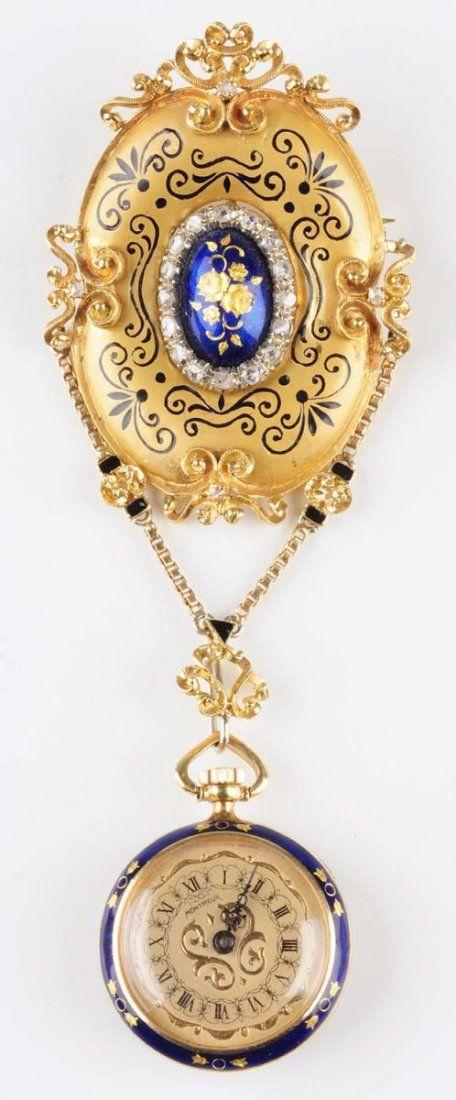 Gold & Enamel Pocket Watch & Elaborate Pin.