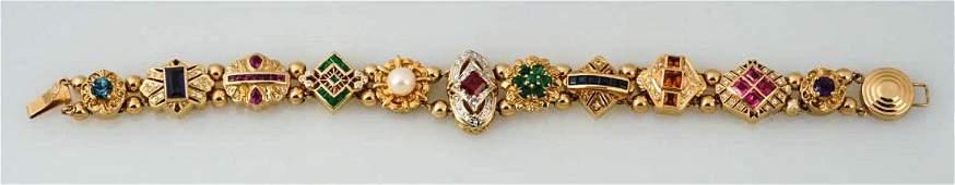 14K Gold Multi Stone Slide Bracelet