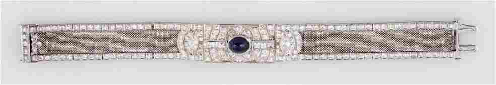 Art Deco Diamond Sapphire  Platinum Bracelet