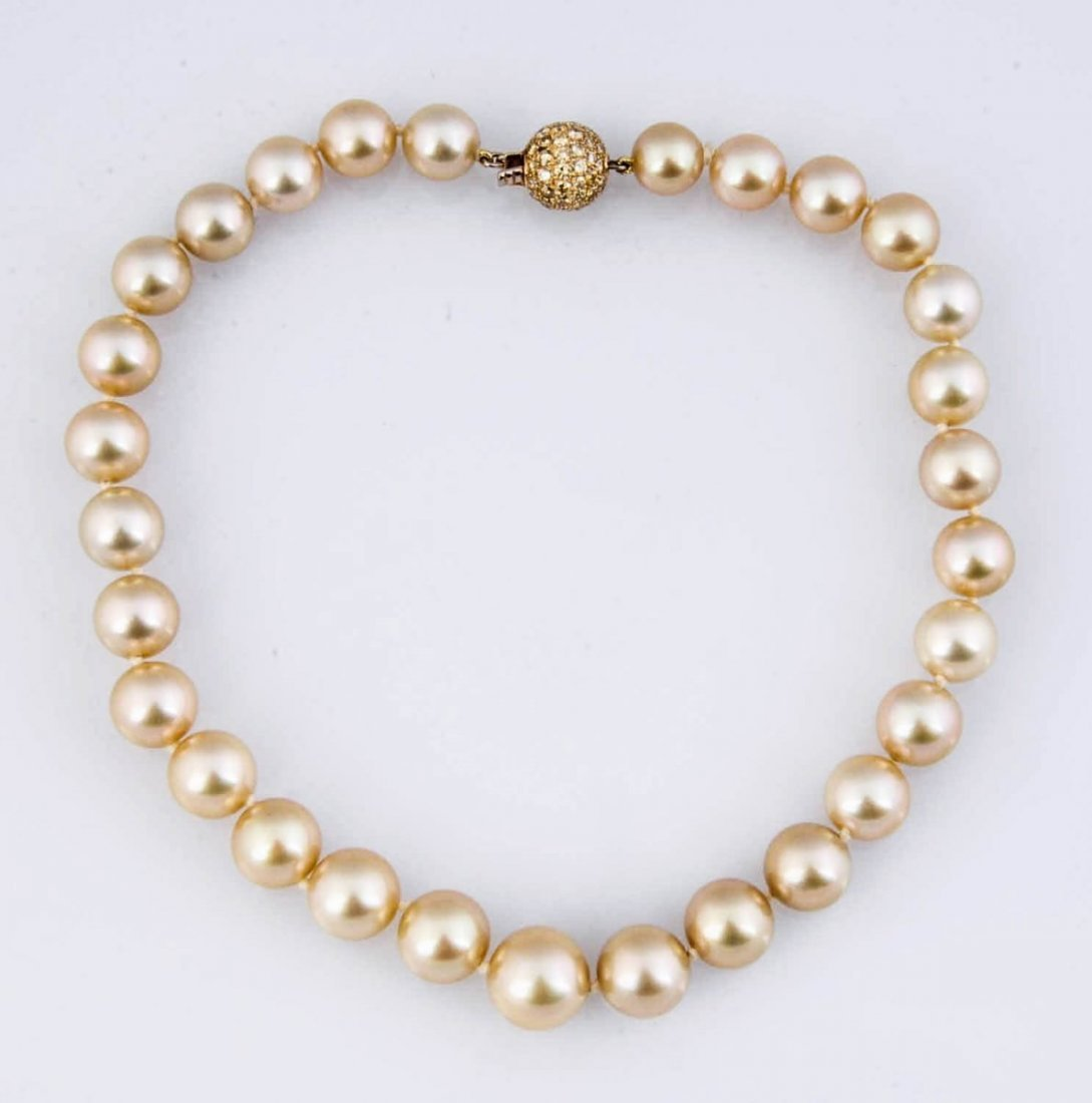Natural Golden South Sea Pearl Necklace.