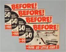 Lot Of 4: Toy Airplane Advertising Posters.
