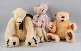 Lot Of 4: Stuffed Jointed Bears.