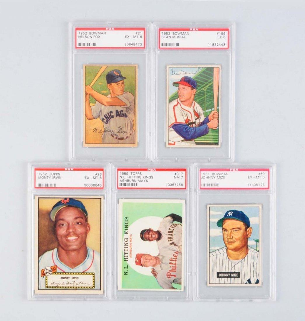 Lot Of 5: 1950s Baseball Cards - PSA Graded Stars.