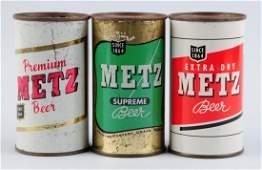 Lot Of 3: Metz Beer Flat Top Cans.