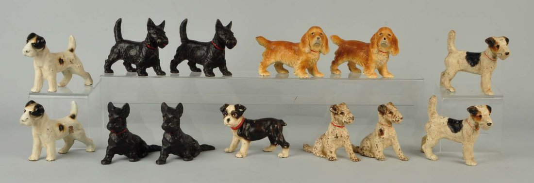 Lot Of 13: Cast Iron Dog Bookends.