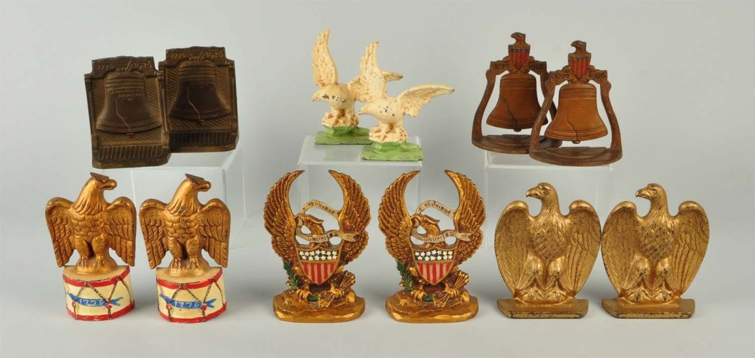 Lot Of 12: Cast Iron Patriotic Themed Bookends.