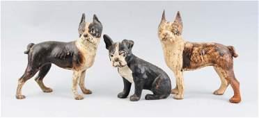 Lot Of 3 Cast Iron Assorted Dog Doorstops