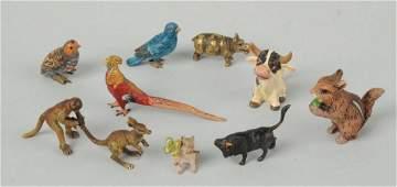 Lot Of 9: Vienna Miniature Bronze Animal Figures.