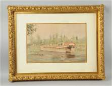 Watercolor Painting of Canal Boat