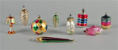 Lot Of 9: Early Glass Christmas Ornaments.