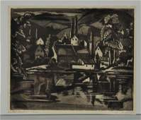 "Engraving ""Moret-sur-le-Loing"" By Emil Ganso."