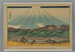 Japanese Woodblock Print With Fijiyama Mountain