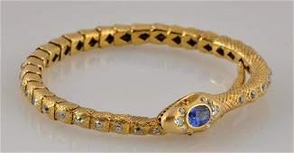 Gold Snake Diamond Bracelet.