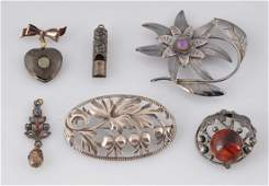 Lot Of 6: Four Silver Pins and Two Pendants.
