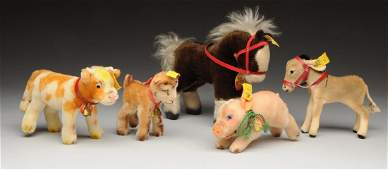 Lot Of 5: Steiff Farm Animals with IDs.