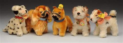 Lot Of 5: Steiff Minature Dogs with IDs.