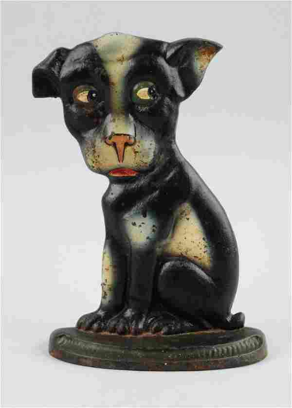 Cast Iron Whimsical Pup, Boston Terrier Doorstop.