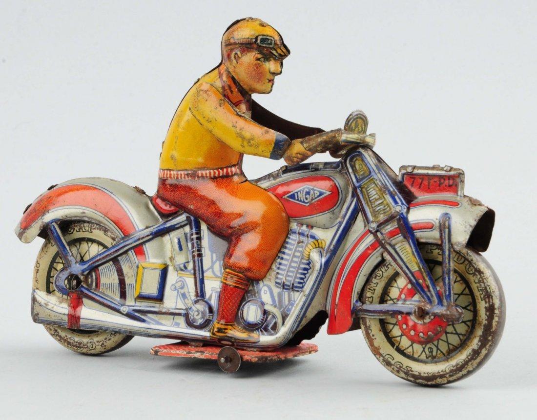 Italian Ingap Tin Litho Wind-Up Motorcycle Toy.