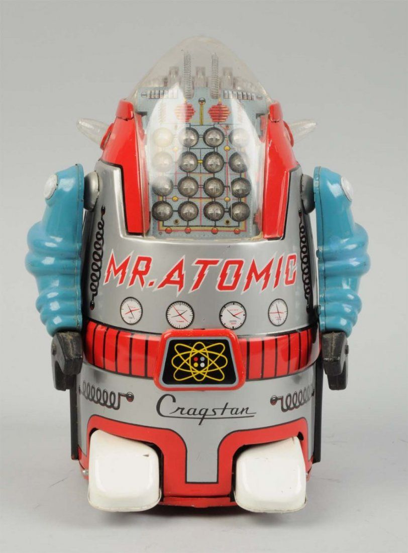 Scarce Japanese Tin Litho Battery Op Mr. Atomic.