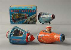 Lot Of 3 Japanese Tin Litho Space Capsule Toys