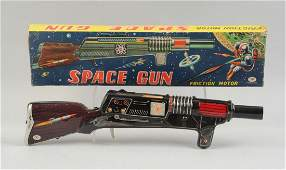 Japanese Friction Tin Litho Space Gun In Box