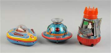 Lot Of 3 Japanese Tin Litho Space Vehicles