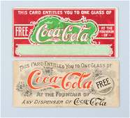 Lot of 2 Early Coca Cola Coupons