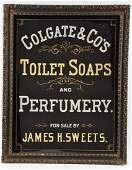 Colgate & Co Toilet Soaps Reverse on Glass Sign.