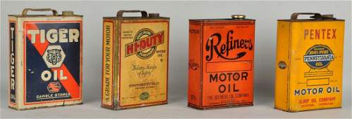 Lot of 4 One Gallon Flat Motor Oil Cans