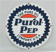 Purol Pep The Pure Oil Company Porcelain Sign.