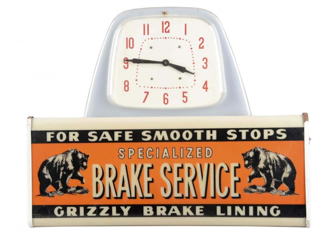 Grizzly Brake Lining Lighted Advertising Clock