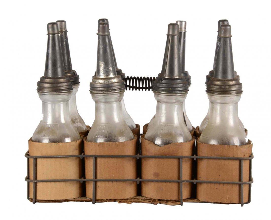 Lot Of 9: Vintage Motor Oil Bottles and Carrier