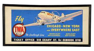 Early 1930s TWA Travel Ticket Office Sign