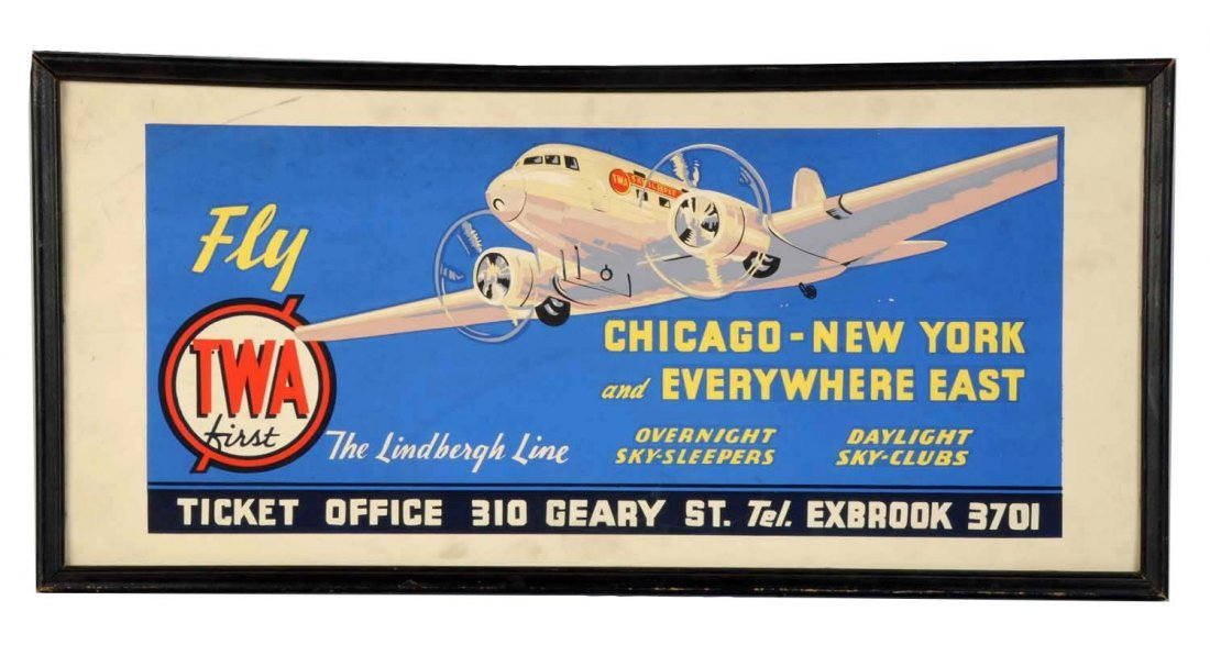 Early 1930's TWA Travel Ticket Office Sign