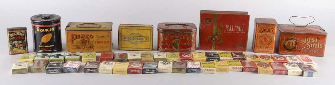 Box Lot Of Tobacco Tins And Cigarette Packs