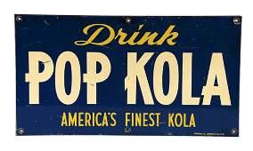 Pop Kola Soda Tin Advertising Sign