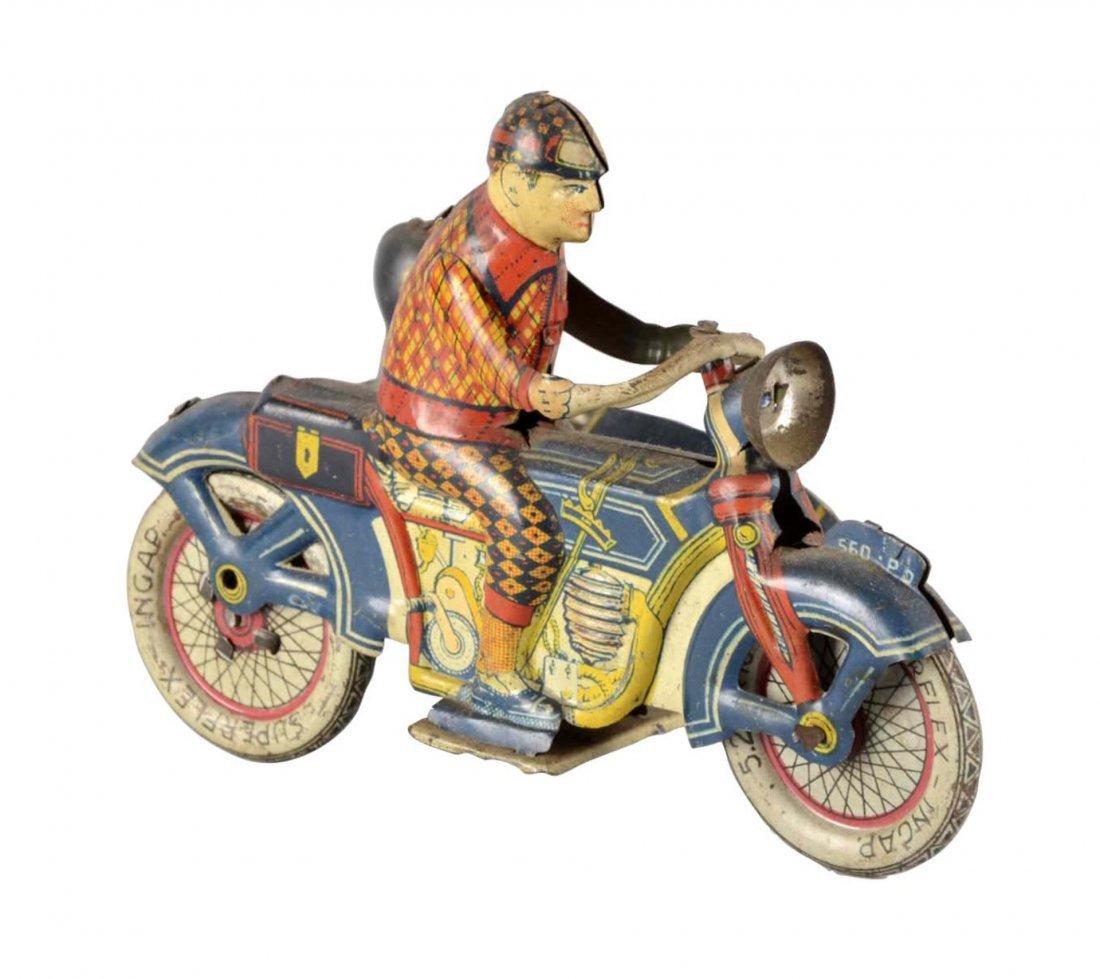 Ingap Tin Litho Motorcycle & Side Car Winding Toy