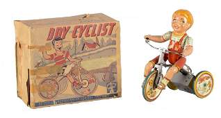 Unique Art Kiddy Cyclist Tin Litho Windup Toy
