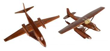 Lot Of 2: Solid Wood Model Airplanes