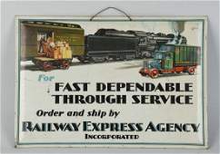 Railway Express Agency Tin Over Cardboard Sign.