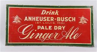 Tin Embossed Anheuser-Busch Ginger Ale Sign.