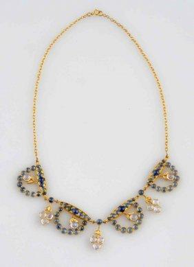Sapphire, Moonstone & 18k Necklace.