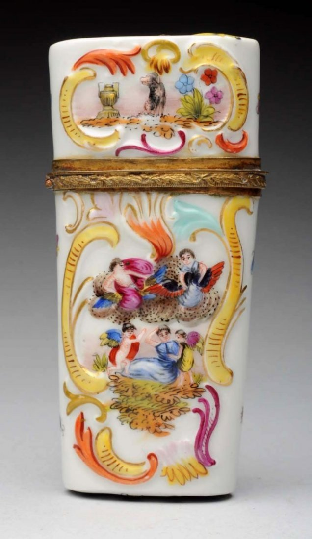 Early Porcelain Embossed Hand Painted Hinged Box.