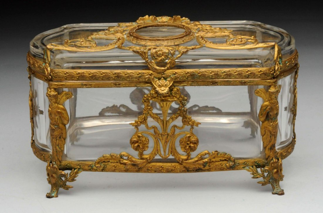 19th Century French Cut Crystal & Bronze Box.